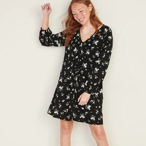 NEW Old Navy L Black Floral Pintuck Swing Dress